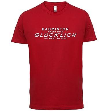 Badminton macht mich glücklich - Herren T-Shirt - Rot - XS