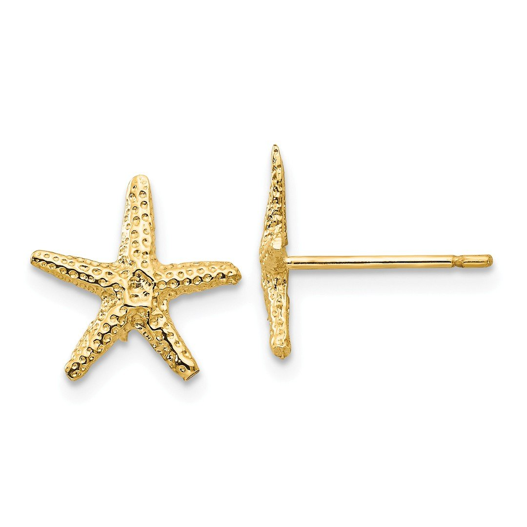 ICE CARATS 14k Yellow Gold Starfish Post Stud Ball Button Earrings Animal Sea Life Fine Jewelry Gift Set For Women Heart