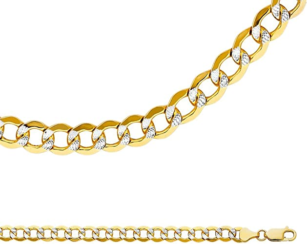 6.6mm Men//Women/'s Stylish Italian 925 Silver 14K YG Plated Curb Chain Necklace