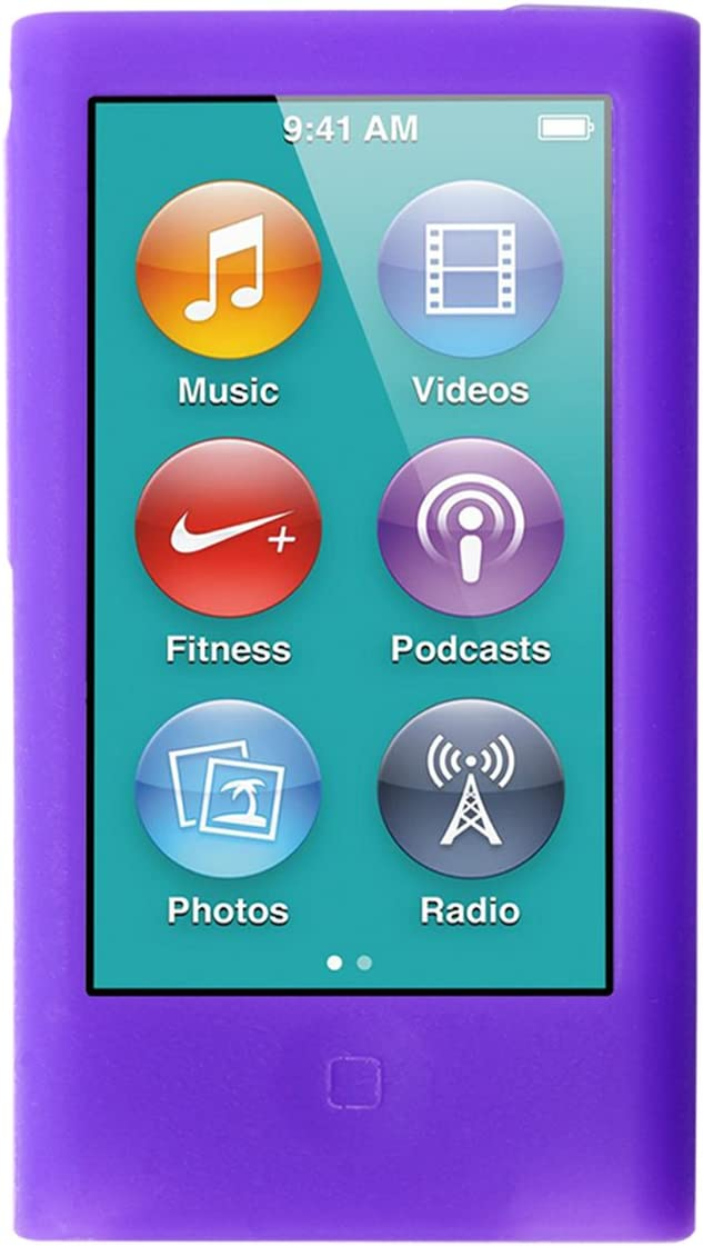 ColorYourLife iPod Nano Silicone Cases Skins Covers for New iPod Nano 8th Generation 7th Generation with 1 Screen Protector and Cleaning Wipe (Purple)