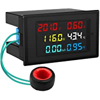 AC Display Meter, DROK 80-300V 100A Voltage Current Power Factor Frequency Electric Energy Monitor Ammeter Voltmeter…