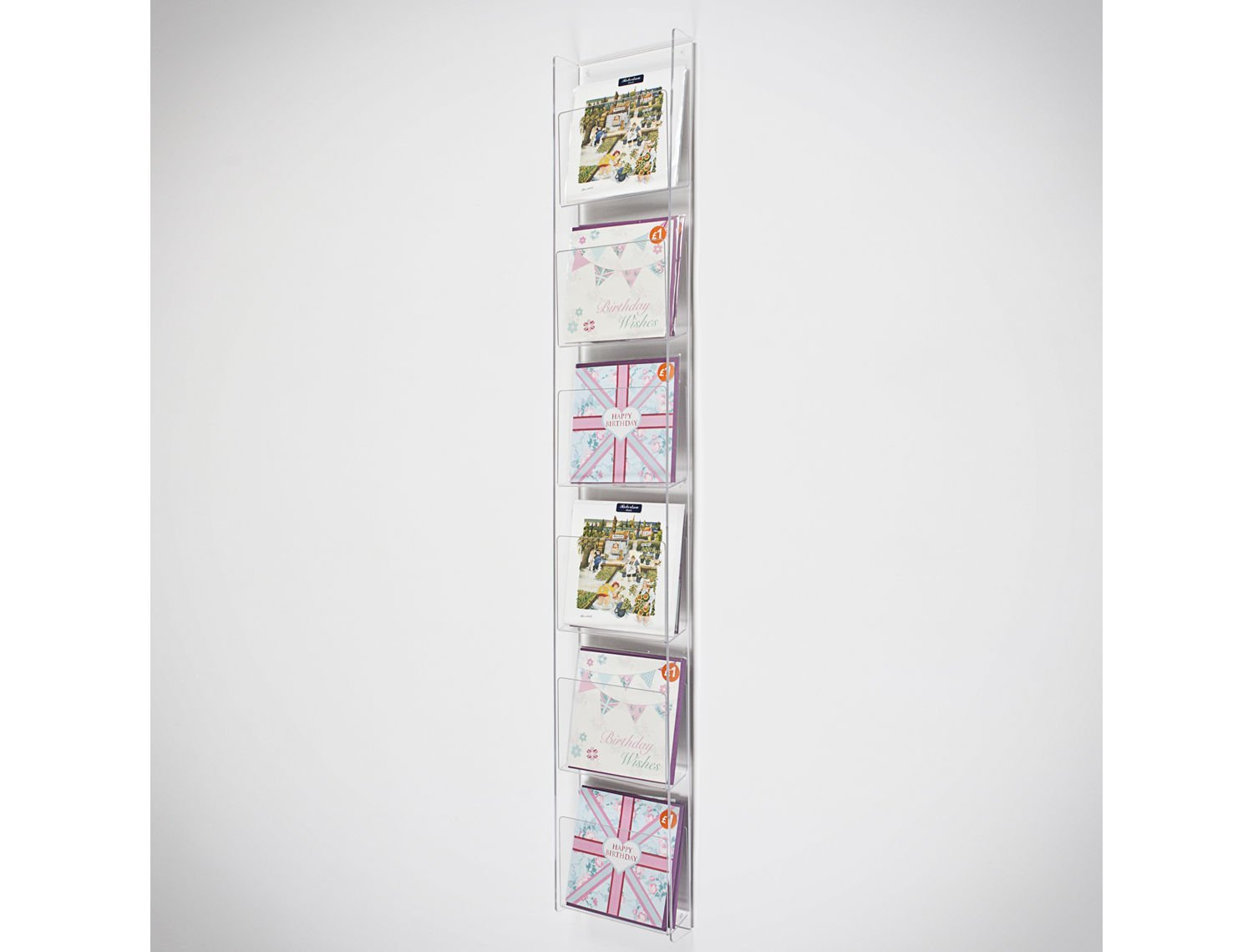 Greeting Card Wall Display 5 Pockets 185mm Wide 1000mm High
