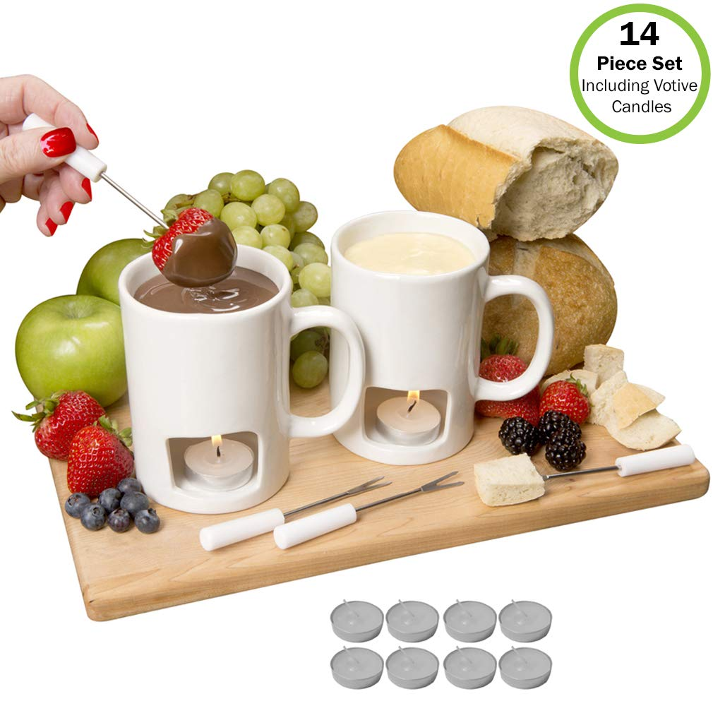 Evelots Fondue Mugs,2 Mugs,4 Forks & 8 Votive Candles-Minor Defects-14 Piece Set by Evelots