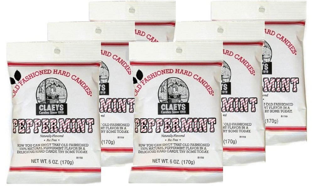 Claey's Natural Peppermint Candy, 6 Packages of 6 Ounces Each