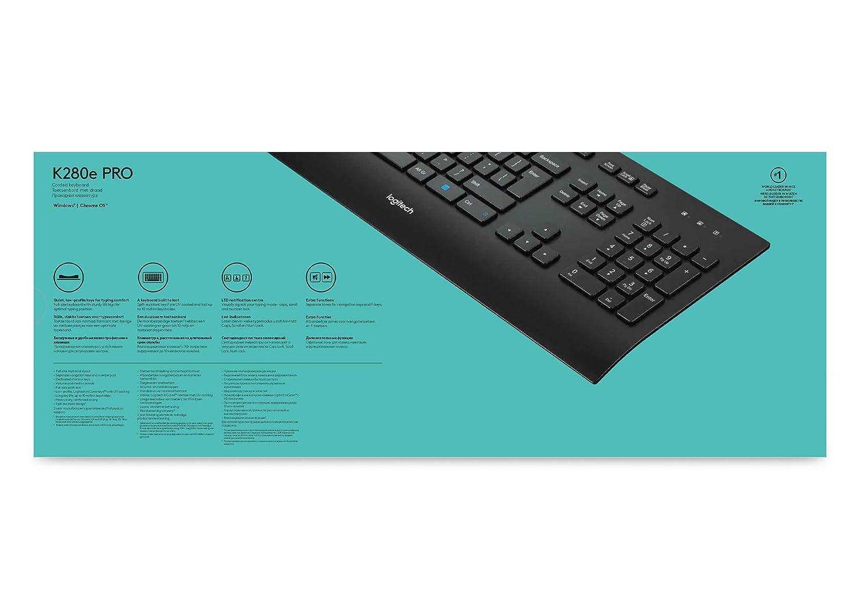 Logitech K280e - Teclado (USB, Oficina, AZERTY, Francés, USB, Windows 7 Home Basic, Windows 7 Home Basic x64, Windows 7 Home Premium, Windows 7 Home Premium ...