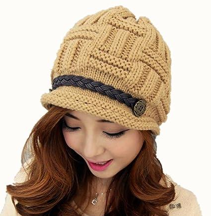 Amazon.com  Khaki Fashion Women Warm Winter Knit Crochet Hat Baggy ... 9b5b873e47c