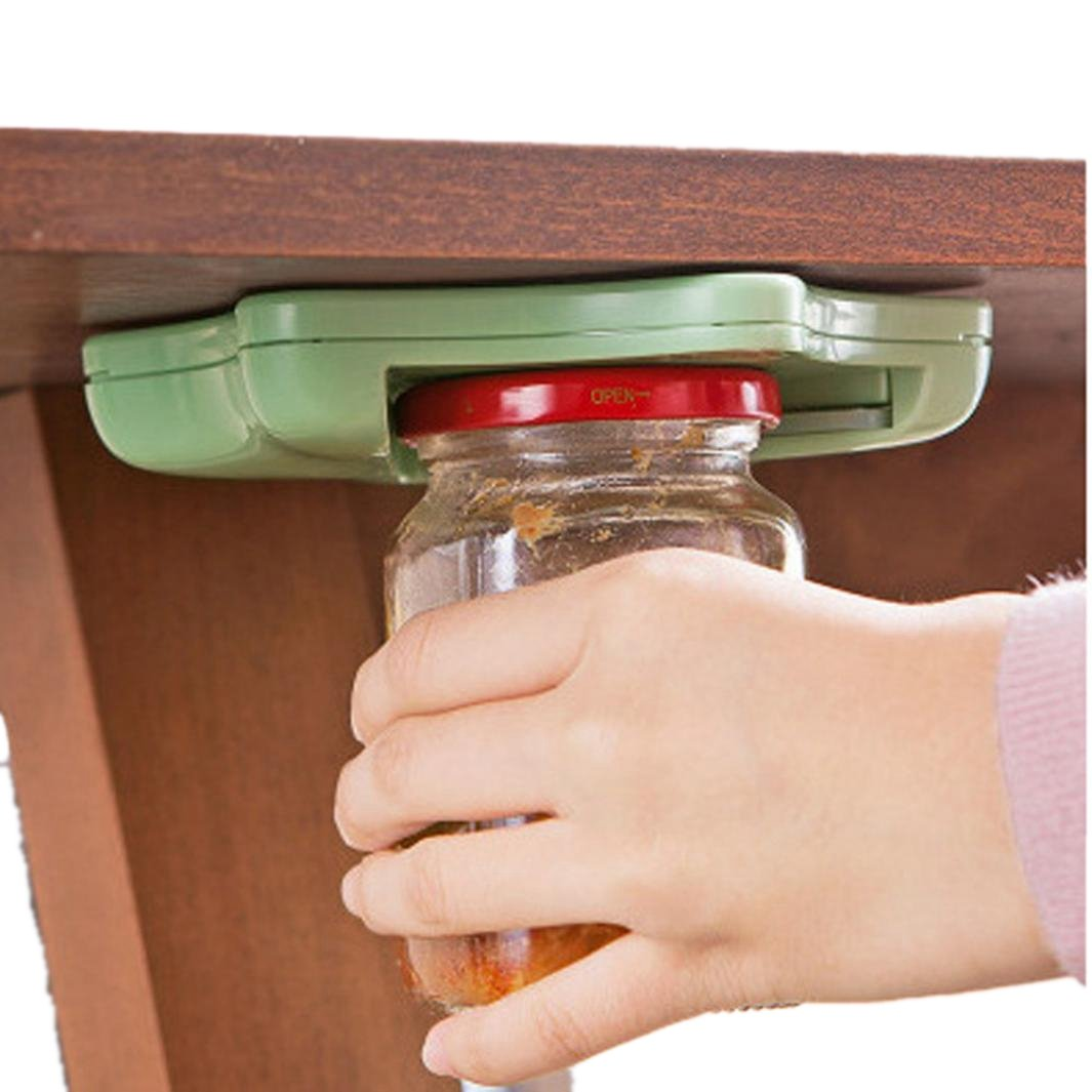 Can Openers - Jar Opener For All Jar Sizes - Under The Kitchen Cabinet Counter Top Lid Remover (Green)