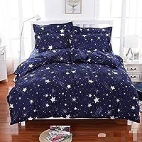 mahadev texo fab Cotton Blue Star Flat Bedsheet(Double 90*90)