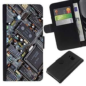 YiPhone /// Tirón de la caja Cartera de cuero con ranuras para tarjetas - PCB Transistores Chipset - HTC One M7