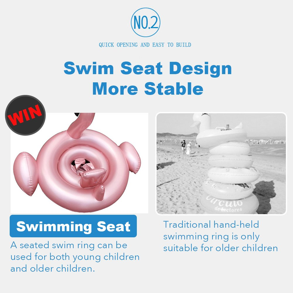 Zyorenc Swimming Seat for Toddler Baby Swim Ring with Skin Care PVC for Toddler from 6 Months to 3 Years Rose Gold Flamingo