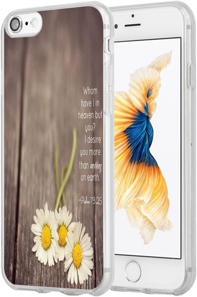Case for iPhone SE 2020 Christian Sayings,Hungo Soft TPU Silicone Protective Cover Compatible with iPhone 8/7 / SE 2020 (SE 2) Bible Verses Theme Psalm 73:25