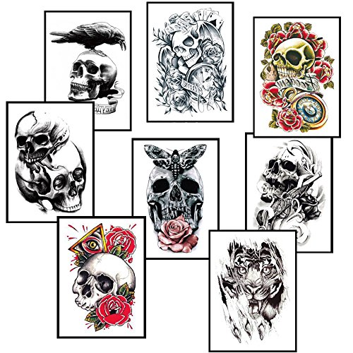 si ying Temporary Tattoos Arm Sticker Roses, 8 Sheets Skulls Art Arm Sticker Body Waterproof -