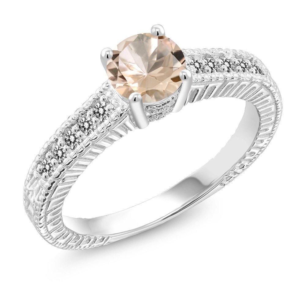0.77 Ct Round Peach Morganite White Diamond 925 Sterling Silver Ring (Size 9)