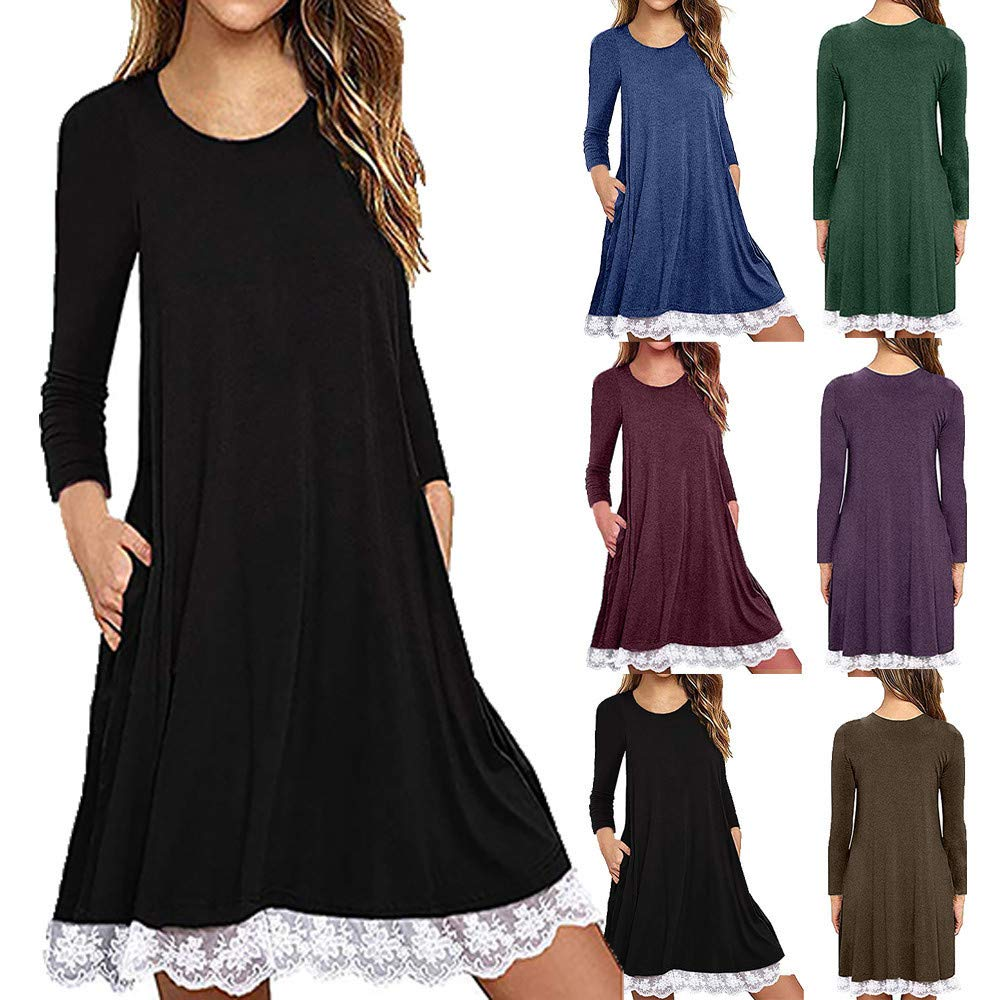 Dresses for Women Casual Fall,Womens Long Sleeve Lace Tunic Dress Plus Size Swing Dress T Shirt Dress with Pockets