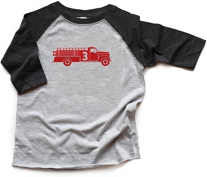 Third Birthday tshirt Firetruck  Three Fireman Raglan 3 Firetruck Shirt Raglan