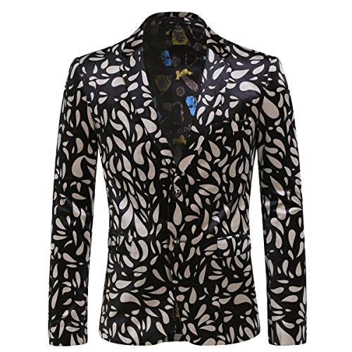 Men's Skull Floral Print Blazer Sport Coat Two Button Slim Fit Dress Coat Black