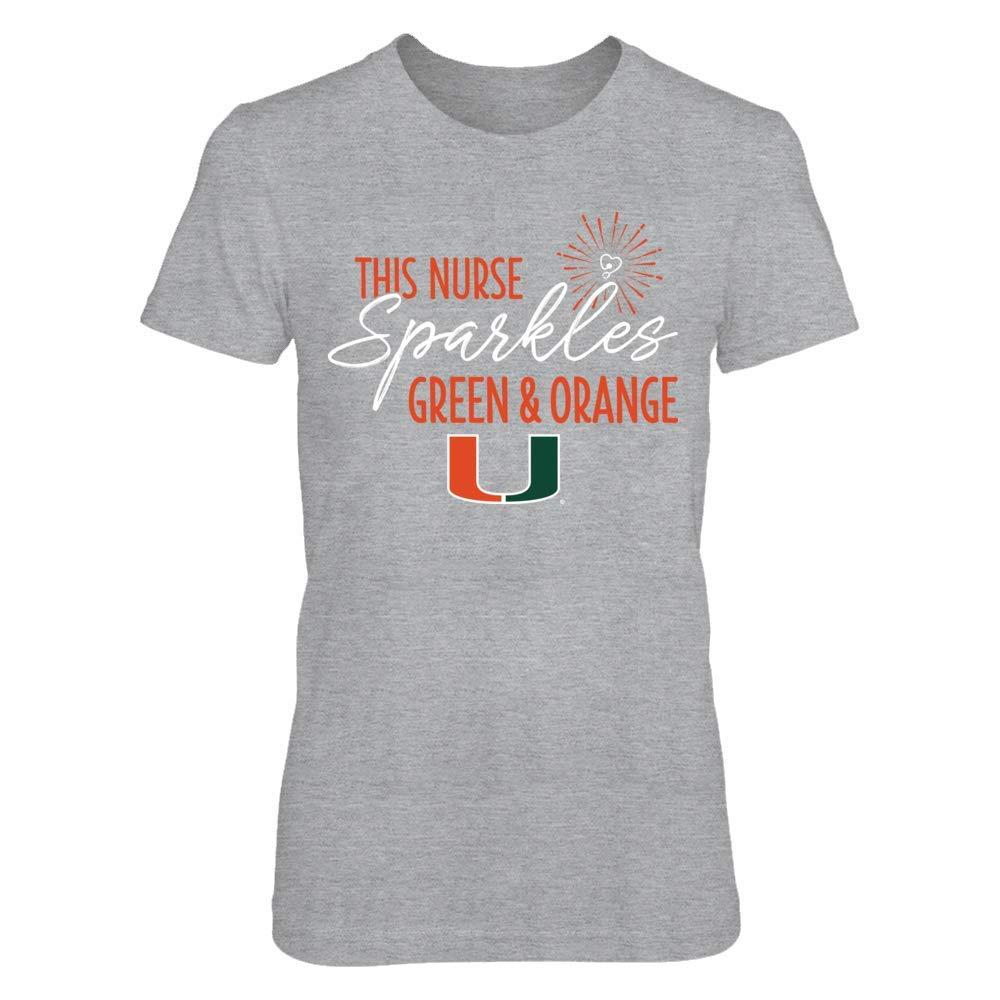 FanPrint Miami Hurricanes T-Shirt This Nurse SparklesColors T-Shirt Tank
