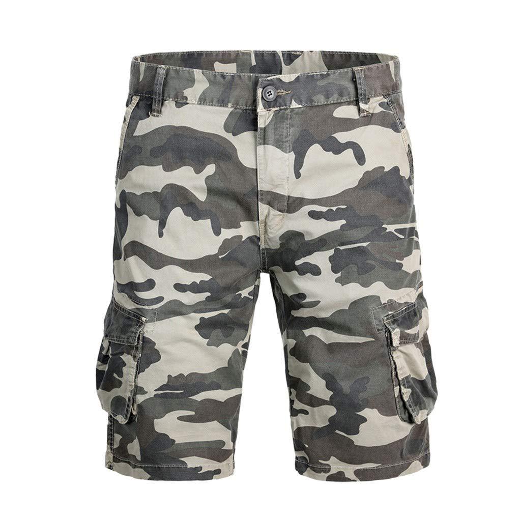 Allywit Fashion Men's Cotton Pocket Camouflage Outdoors Work Trouser Cargo Short Pants Plus Size