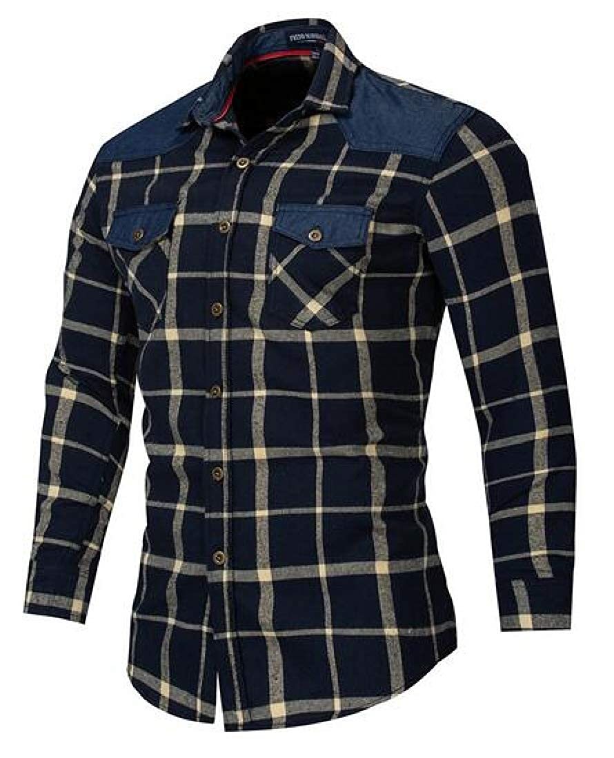 Fubotevic Mens Cotton Checkered Shirts Long Sleeve Plaid Denim Work Western Shirt