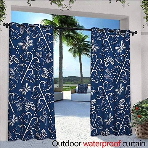 (homehot Navy Blue Exterior/Outside Curtains Tulip Bluebell Flower Pattern with Foliage Leaf Branches Feminine Print for Patio Light Block Heat Out Water Proof Drape W120 x L108 Dark Blue White)