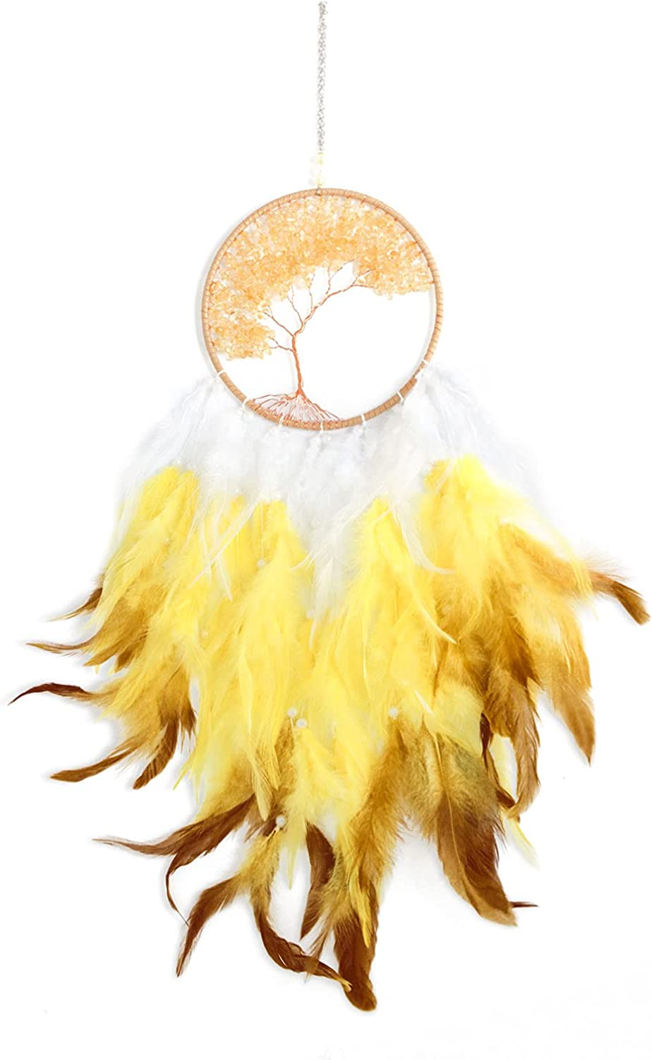 Pretty Jolly Fairy Gold Tree of Life Dream Catcher Wall Decor with Healing Crystal Stone Handmade Feather Dream Catchers Decoration Wall Hanging Ornaments for Bedroom Wedding Party Home Decor-25.6