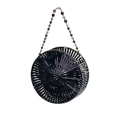 Women Craft Bamboo Basket Bag Circle Straw Beach Bag Female Round Summer Woven Rattan Handbags Shoulder