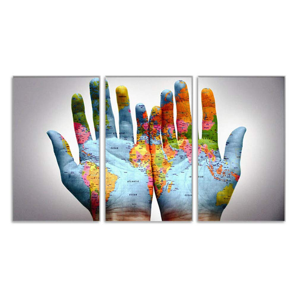 OYJJ 3 Panel Hand-Decorated Canvas Painting Creative Hand map Oil Painting School Office Decoration