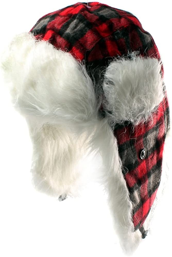 Accessoryo Black and Red Checked Square Trapper Hat with Faux Fur Lining Available in Sizes 58cm or 59cm