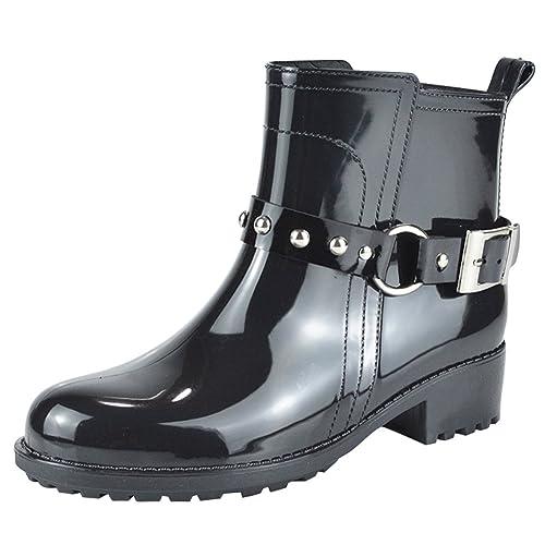 Paragon Botas Agua Cortas Goma Impermeables Botas de Lluvia para mujer (EU 15, Negro