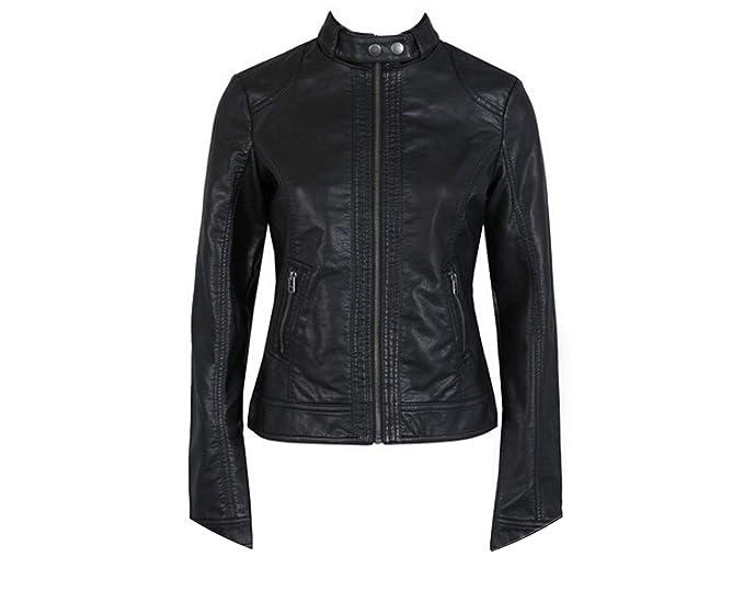 Amazon.com: Chaqueta de piel sintética para mujer, para moto ...