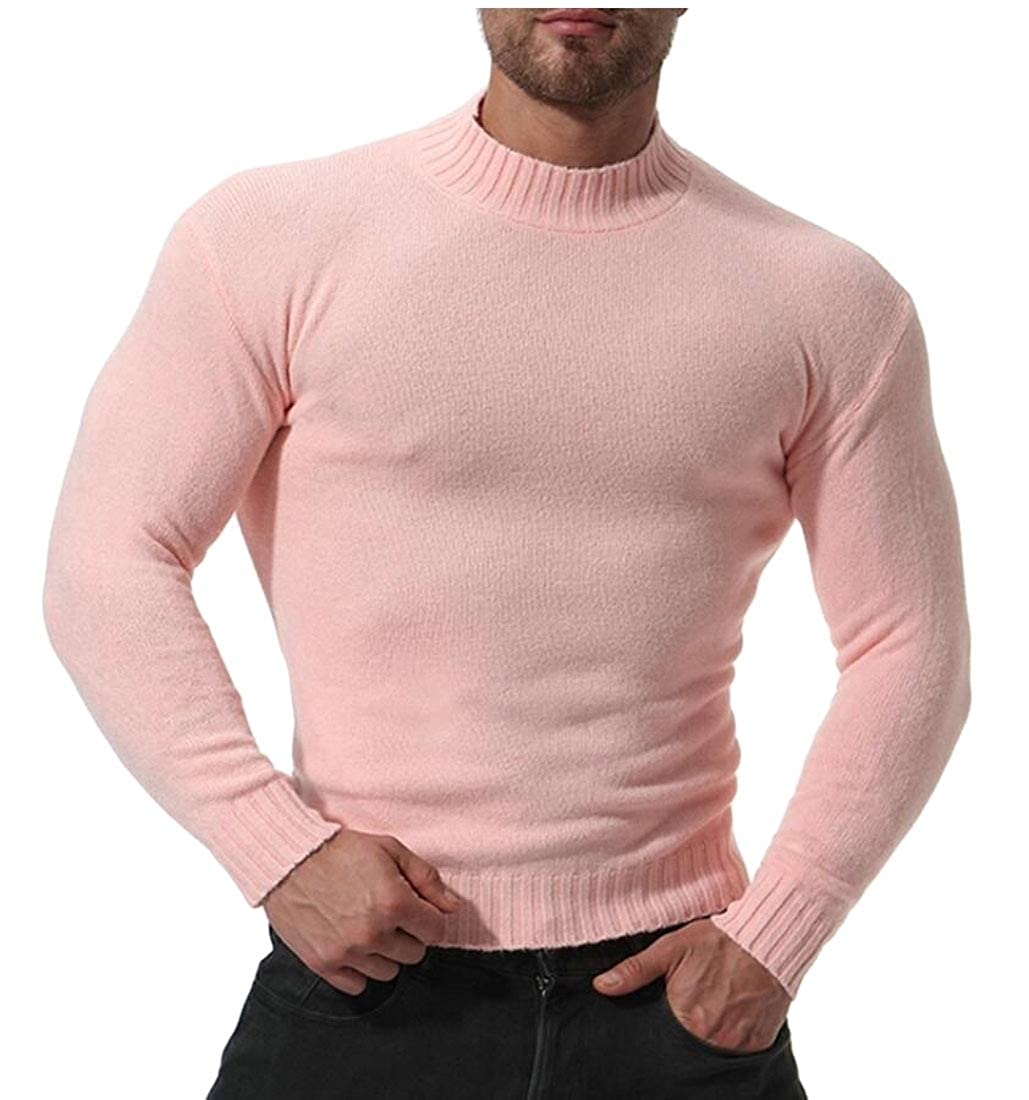 Z.Tianci Mens Knitted Slim Fit Stand Collar Casual Knitwear Solid Color Pullover Sweaters