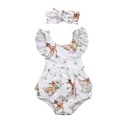Mono Bebe Niña ❤ Amlaiworld Niño pequeño bebé niña ropa navidad ciervo mameluco diadema Conjunto