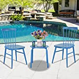 3Pcs Outdoor Bistro Round Table Chair Furniture Set Garden Lawn Coffee Table Blue