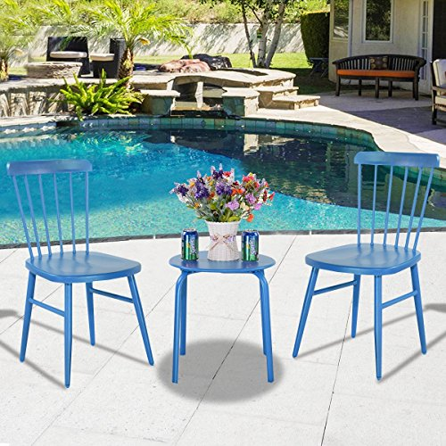3Pcs Outdoor Bistro Round Table Chair Furniture Set Garden Lawn Coffee Table Blue by Apontus