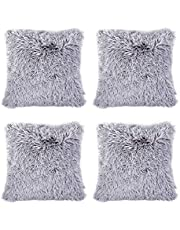 "Hivexagon Soft Plush Pillow Cover - Faux Fur Cushion Cover Set of 4 (17"" x 17"") Grey"