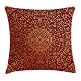 Maroon Throw Pillow Cushion Cover by Ambesonne, Antique Arabic Artwork Oriental Mandala Inspired Round Ornament Moroccan Ethnic, Decorative Square Accent Pillow Case, 16 X 16 Inches, Gold Maroon