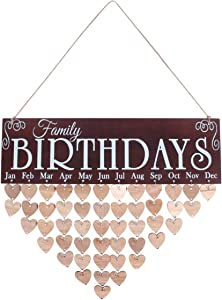 BESPORTBLE Wooden DIY Calendar Hanging Plaque Board Family Birthday Reminder Home Decor