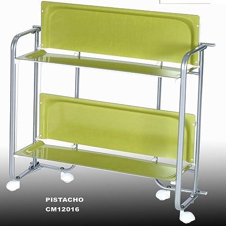 Metalcasa Carrito Camarera armazon Color Gris Titanio, Dos bandejas Color Verde Pistacho