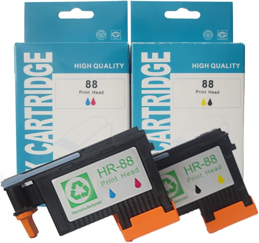 Ouguan Ink Compatible Printhead for Hp 88 C9381a Black and Yellow C9382a Magenta and Cyan Compatible for Hp Officejet Pro Printers