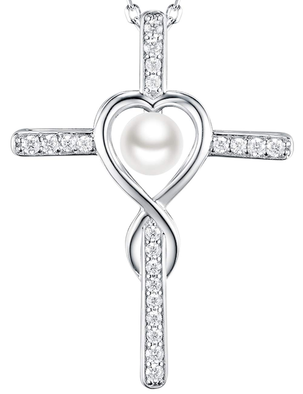 Love Infinity God Cross Jewelry White Pearl Charm Necklace Gifts for Women Anniversary Birthday Gift for Her Wife Girlfriend Fiancee, Grandma, Sterling Silver Swarovski Pendant,18''+2'' Chain