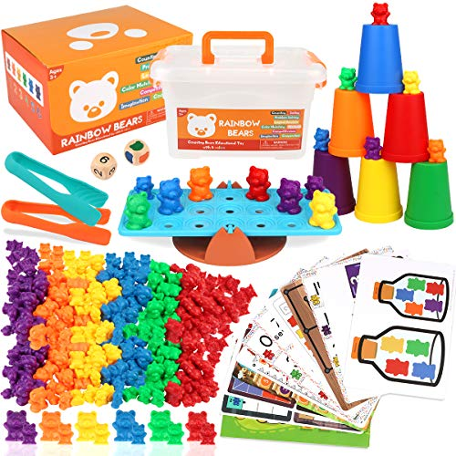 Boogem Rainbow Counting Bears Toys for Kids, 115Pcs Counting Teddy Bears Gift Set with Color Matching Sorting Cups, Educational Toys 30 Large and 60 Small Teddy Bear for Kids and Toddlers