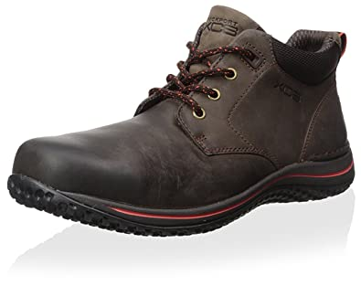 Rockport XCS Men Walk360M Chukka Lace Up Boot Shoe, Bark/Cherry Tomato, US
