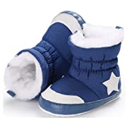 Anrenity Baby Girls Boys Faux Fur Warm Winter Boots Zipper Infant Soft Sole Snow Boots Crib Shoes BBS-016 Blue 0-6 Months