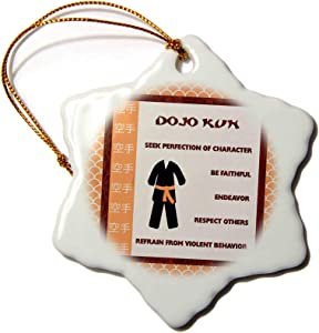 3dRose Dojo Kun, Japanese Martial Arts, Karate Rules, Orange Belt - Ornaments (ORN_218333_1)