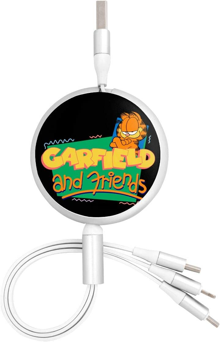 Aluminum Alloy Shell N//C Garfield The Movie Anime Round Three-in-One Charging Cable TPE Cable Pc Surface