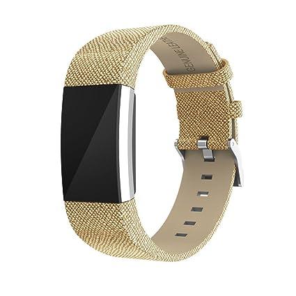 ☀️Modaworld Pulsera de Repuesto Correa de Banda de Repuesto Muñequera Pulsera de Cuero con Conectores de Metal para Fitbit Charge 2 (Oro): Amazon.es: ...
