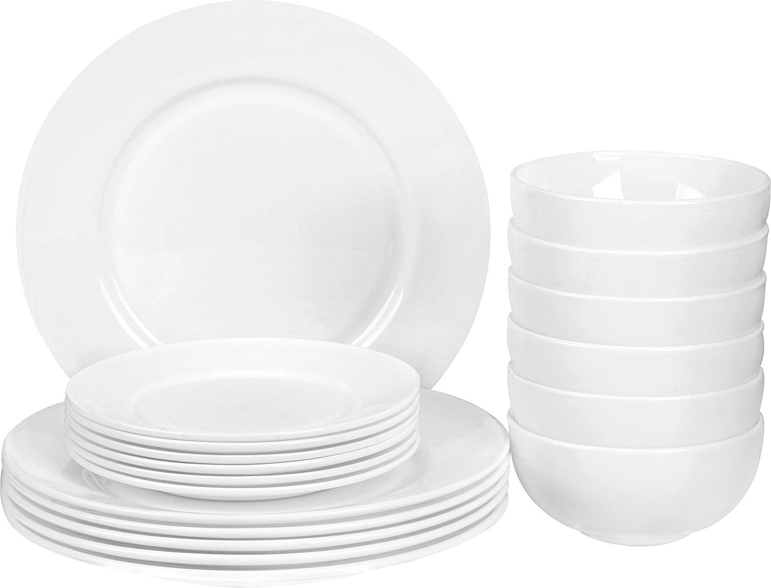 Utopia Kitchen 18 Pieces Flat Edge Dinner Set - Dishwasher Safe Opal Glassware - Microwave/Oven Friendly