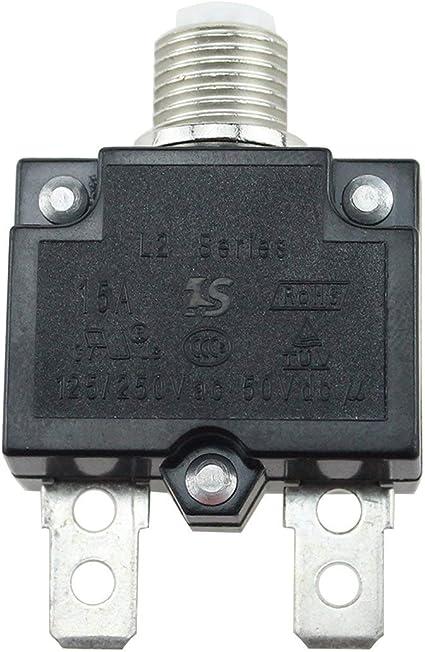 10A Funnyrunstore 5A 30A Disyuntor a prueba de agua Bot/ón pulsador de restauraci/ón de fusibles t/érmicos Disyuntor Montaje en panel 15A 20A 5A