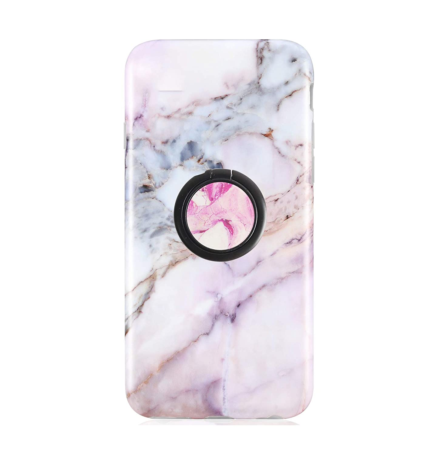 Rose Gold Marble Cell Phone Ring Stand Holder,360 Rotation Metal Finger Ring Grip Kickstand for Almost All Phones,Pad