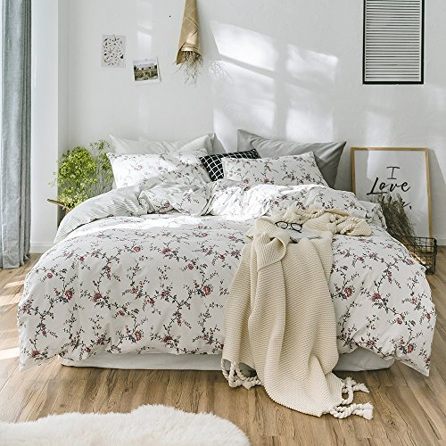 MKXI Flower Duvet Cover Set, Floral Romantic Rose Printed Wh